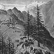 """British fighting in the mountains of  Afghanistan 1879. """"storming A Stockade"""" Sketch by Lt. Neville Chamberlain in the Kurum Valley. Harper's Weekly 2, 1879."""