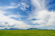 Ranch land and Little Belt Mountains from Highway 87, Judith Basin County, Central Montana.