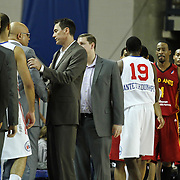 Delaware 87ers Head Coach Rod Baker and Fort Wayne Mad Ants Head Coach Conner Henry exchange words after a NBA D-league regular season basketball game between the Delaware 87ers and The Fort Wayne Mad Ants Sunday, Dec. 15, 2013 at The Bob Carpenter Sports Convocation Center, Newark, DE