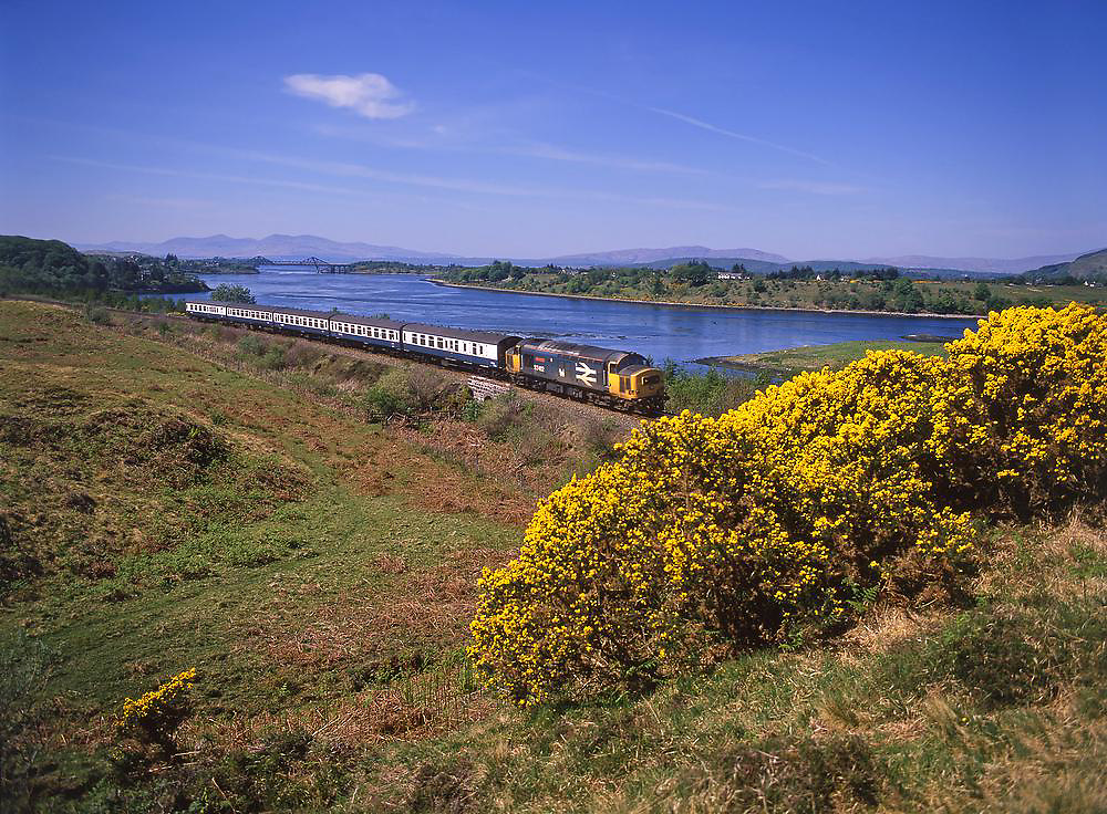 British Rail Class 37 diesel is seen here near connel, Loch Etive, Argyll 1980's
