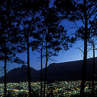 South Africa, Cape Town, Lights of downtown skyline and Table Mountain, view from Signal Hill