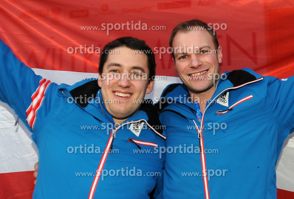 14.02.2014, Austria Tirol House, Krasnaya Polyana, RUS, Sochi, 2014, im Bild PK BOB<br /> BENJAMIN MAIER, MARKUS SAMMER // PK BOB<br /> BENJAMIN MAIER, MARKUS SAMMER during the Olympic Winter Games Sochi 2014 at the Austria Tirol House in Krasnaya Polyana, Russia on 2014/02/14. EXPA Pictures &copy; 2014, PhotoCredit: EXPA/ Erich Spiess