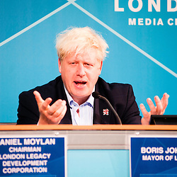 London, UK - 9 August 2012: Mayor Boris Johnson during the Press Conference 'Delivering a lasting legacy from the London 2012 Games' at the London Media Centre.