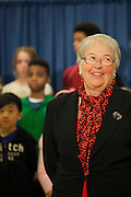 Mayor-Elect Bill de Blasio announces his appointment of Carmen Fari&ntilde;a, pictured, as Schools Chancellor at William Alexander Middle School in Park Slope, Brooklyn, NY on Monday, Dec. 30, 2013. <br /> <br /> CREDIT: Andrew Hinderaker for The Wall Street Journal<br /> SLUG: NYSTANDALONE
