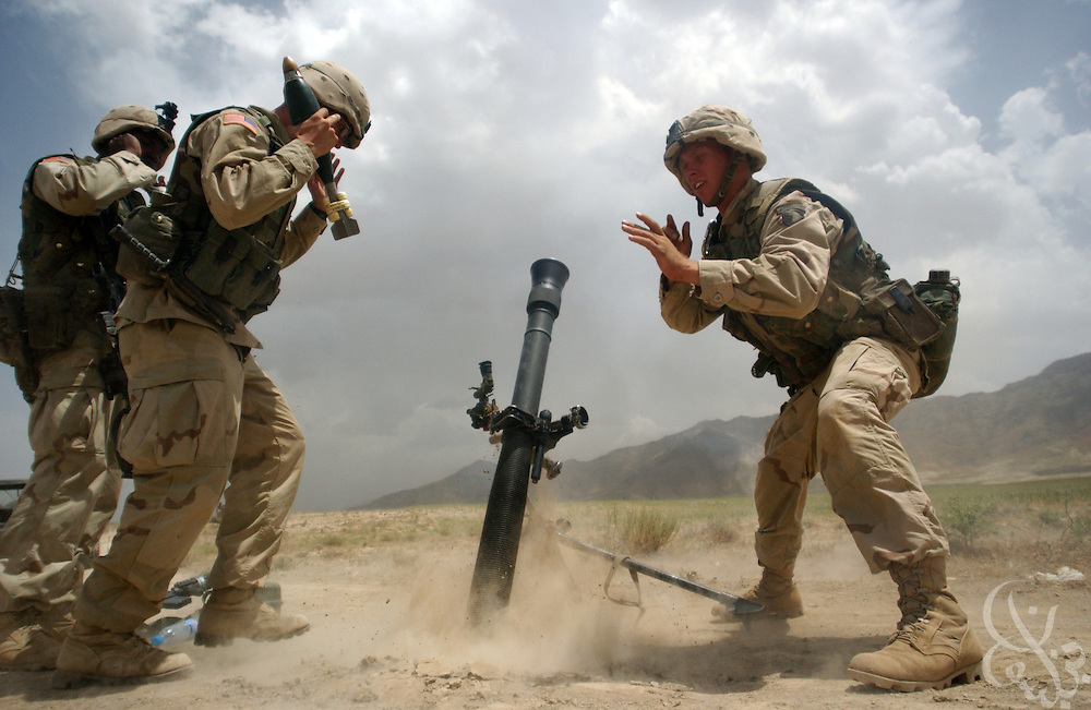 U.S. Army 101st Airborne 2nd Batallion 187 soldiers launch 81mm mortars on a firing range May 28, 2002 near Bagram airbase in Afghanistan. The 101st Airborne is deployed in Afghanistan as part of Operation Enduring Freedom.