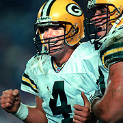 (1997)-Brett Favre celebrating a touchdown pass with Mark Chmura.
