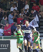 01/06/2002.Sport - Rugby - Zurich Championship.Bristol v Northampton.Bristols Felipe Contepomi, runs into the stand and sits with the young fans, after scoring a try.   [Mandatory Credit, Peter Spurier/ Intersport Images].