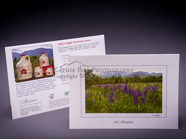 Our only photo greeting card featuring a non-native species. The garden lupine attracts visitors to the White Mountains of NH every summer. This card is a custom design for Polly's Pancake Parlor, located in the same town where this scene was photographed, in Sugar Hill, NH.  Also available as a fine art print. <br /> <br /> Artemis Photo Greeting Cards featuring NH native flora and fauna and historic sites. The cards are made exclusively in NH made from 100% FSC recycled paper, manufactured with wind and water power, and are archival acid free paper. Each card includes details on the back about the image, including interesting anecdotes, historic facts, conservation status, and recipes.