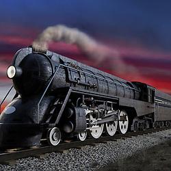 Dreyfuss J3A, 20th Century Limited streamliner locomotive at twilight