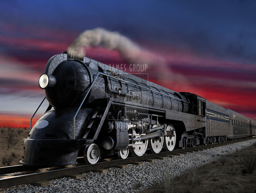 Dreyfuss J3A, 20th Century Limited streamliner locomotive at twilight