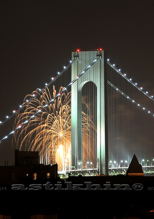 Verrazano Narrows Bridge and Firework,<br />
