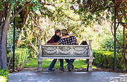 Double sided bench, half occupied.   Location: the Botanical Gardens San Marino, California.<br /> The Huntington Library, as it is officially called is located at San Marino, California.