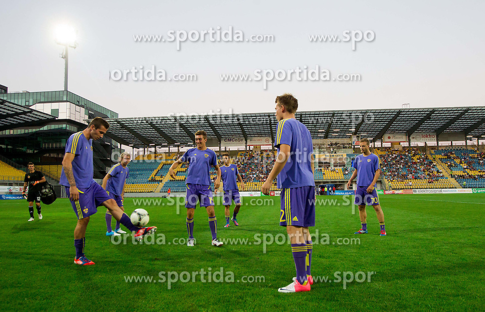 Players of Maribor at warming up prior to the football match between NK Celje and NK Maribor in 7th Round of Prva liga NZS in season 2012/13, on August 25, 2012 in Arena Petrol, Celje, Slovenia. (Photo by Vid Ponikvar / Sportida.com)