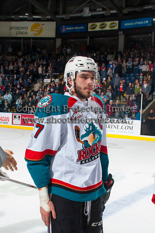 KELOWNA, CANADA - APRIL 30: Rodney Southam #17 of the Kelowna Rockets stands on the ice against the Seattle Thunderbirds on April 30, 2017 at Prospera Place in Kelowna, British Columbia, Canada.  (Photo by Marissa Baecker/Shoot the Breeze)  *** Local Caption ***