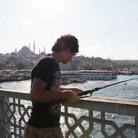 Fishermen on Istanbul's Galata Bridge.