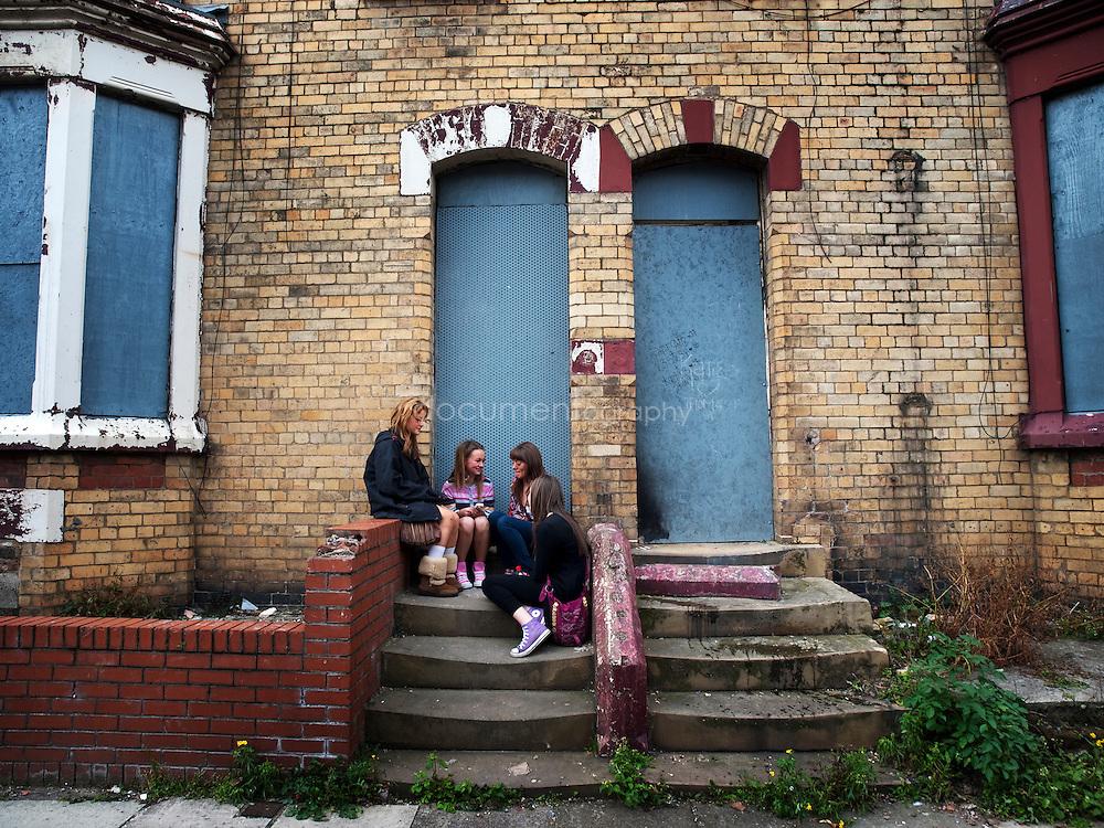 Teenage girls in one of Anfield deserted street...OLYMPUS DIGITAL CAMERA
