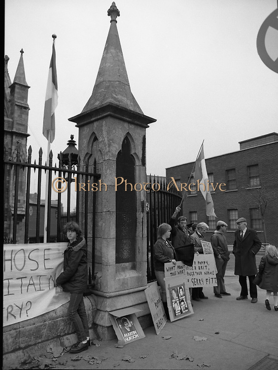 Remembrance Day Service.1983.13.11.1983.11.13.1983.13th November 1983..A remembrance service was held in St Patrick's Cathederal, Dublin,(Poppy Day) to commerate the Irish Fallen who died  whilst on service with the British Army in the two World Wars.Irish Republican activists protest at the gates of the Cathederal.