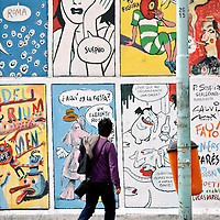 Buenos Aires, Argentina 18 August 2009<br /> Front wall of the comics strip gallery Casa L'Inc. Permanents and temporary exhibitions of the best Argentinians comics strip artists take place in this gallery.<br /> PHOTO: EZEQUIEL SCAGNETTI