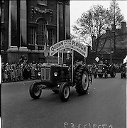 17/03/1959<br /> 03/17/1959<br /> 17 March 1959<br /> St. Patricks Day parade in Dublin. Image shows Miss Muriel Sutton of Wicklow, &quot;Queen of the Plough&quot; 1959 leading the parade on a David Brown 550 tractor.