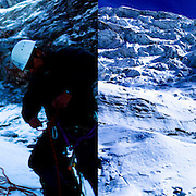 Peruvian mountain guides  Juan Morales,left,  Abel Colana, right and Carlos Callupe  prepare to trek the White Mountain range  near Huaraz, Peru, Saturday, Jan. 15, 2011.(Photo Dado Galdieri)