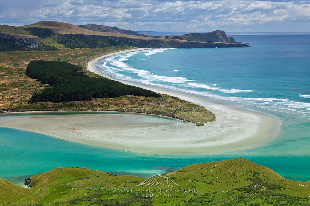 Papanui Inlet flowing out towards Wickliffe Bay, Otago Peninsula