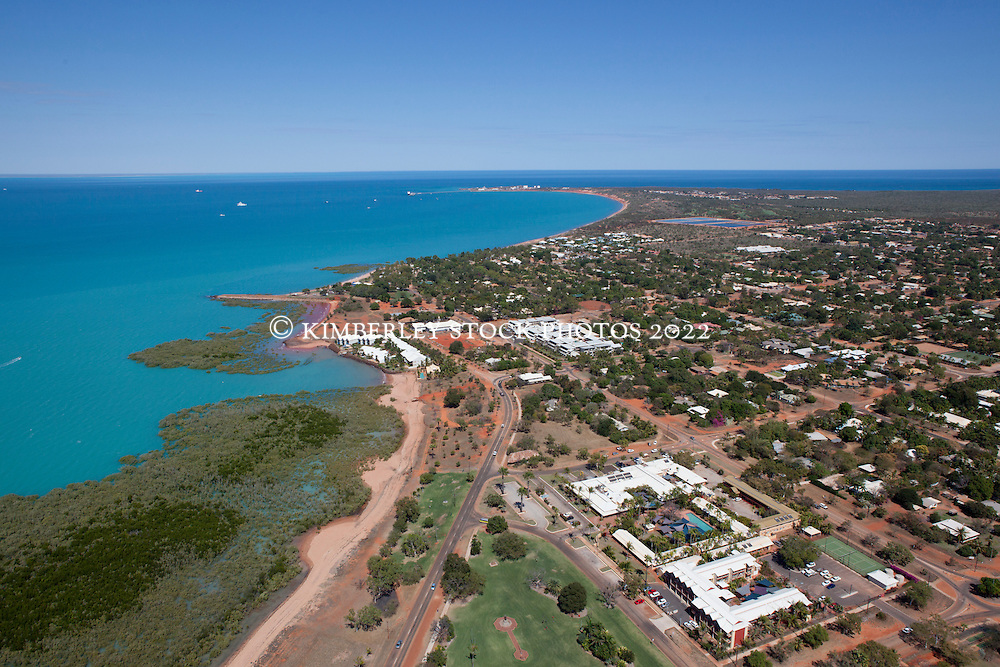 Aerial view of the township of Broome, Western Australia, showing Roebuck Bay.