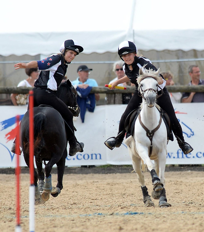 Hannah Burrows and Amy Wiltshire ride for New Zealand, World Mounted Games 2014, Domaine Equestrian De La Bonde, Denis Le Ferment, France, Sunday, August 24, 2014. Credit: SNPA / Sarah Alderman