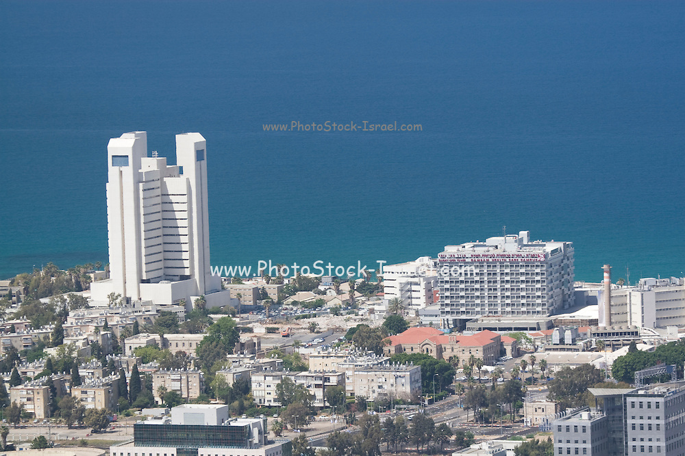 Israel, Haifa, Rambam medical center (right) The Bay of Haifa in the background.