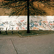 126th Street and Bench, Wall of Graffiti in background.  Appeared in Faith of Graffiti.