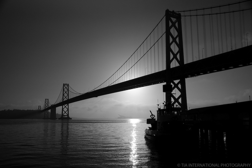 Bay Bridge, Sunrise (B&W)
