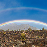 Double rainbow over  the bonito lava flow at Sunset Crater National Monument.