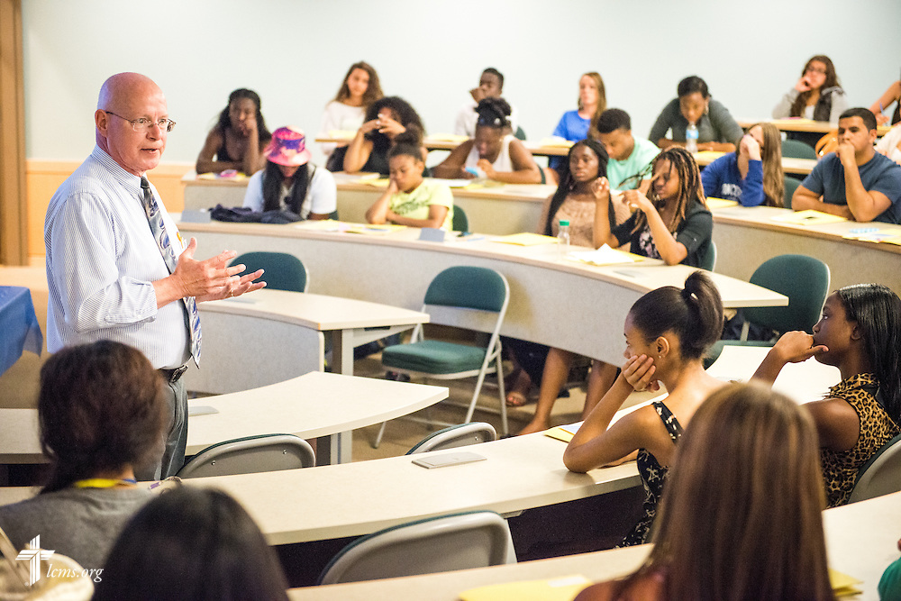 John Bahr, director of the Concordia Distinctive and associate professor of English, leads an orientation class for students at Concordia College New York on Saturday, July 19, 2014, in Bronxville, NY. LCMS Communications/Erik M. Lunsford