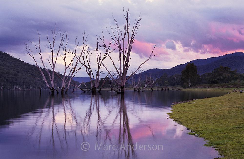 Lake Buffalo at sunset, near Bright, Australia.