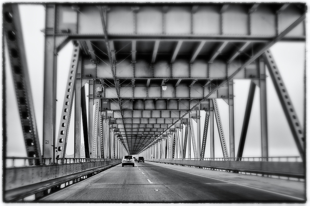 Driving on the Bay Bridge in San Francisco, California, USA. Going to Oakland.