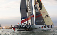 J.P.Morgan Asset Management Round the Island Race 2013.<br /> Picture shows Ben Ainslie skippering the J.P.MORGAN BAR AC45 catamaran to a new corse record of 2hrs 52mins 15sec. With team mates Matt Cornwell (GBR) Andrew Mills (GBR) Mark Andrews and (GBR) Andrew McLean (NZL)