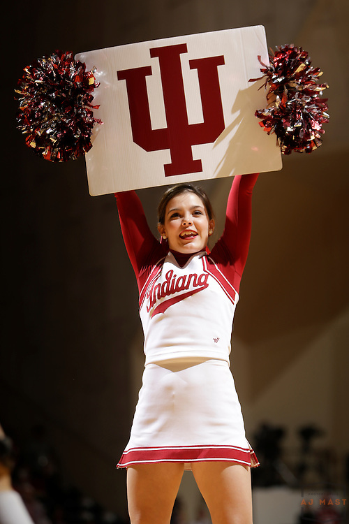 Indiana Cheerleaders as Michigan played Indiana in an NCCA college basketball game in Bloomington, Ind., Sunday, Feb. 8, 2015. (AJ Mast / Photo))