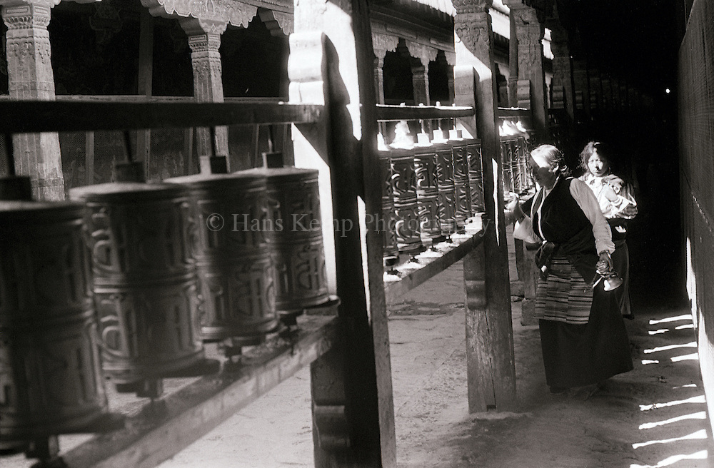 Prayer wheels at the Jokhang in Lhasa, Tibet, 1988