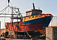 Yafo harbour dry dock rusty boat