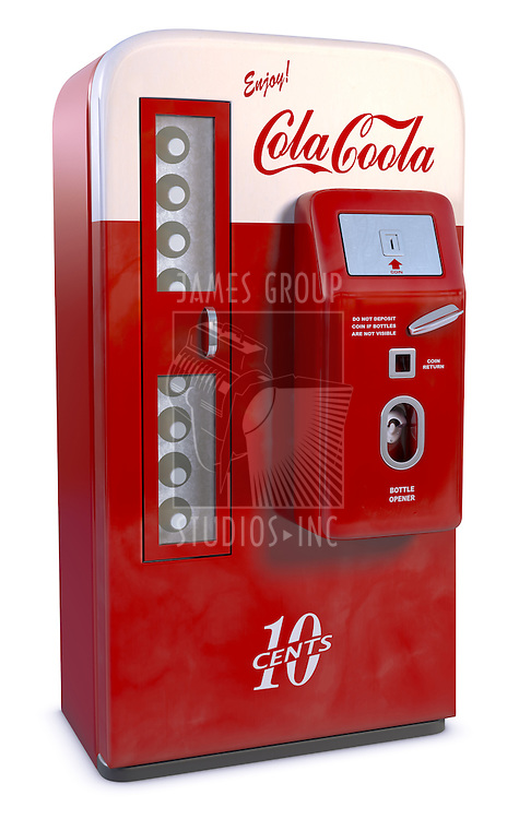 An Antique soda vending machine including clipping path isolated on white with a fake cola logo