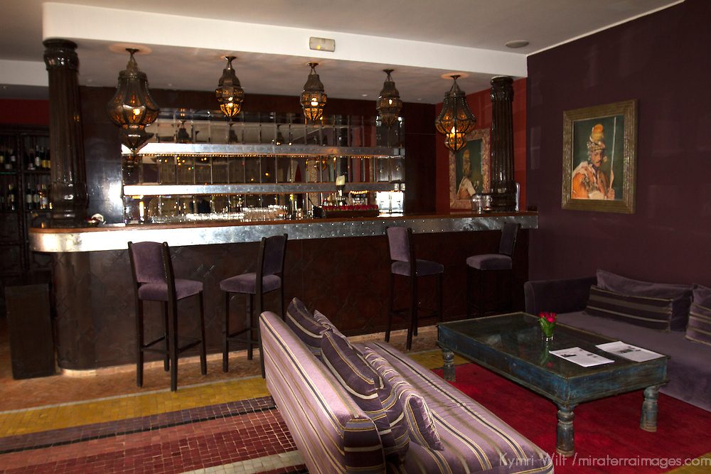 Africa, Morocco, Asni. Restaurant Bar at Richard Branson's Kasbah Tamadot luxury retreat in the Atlas Mountains.