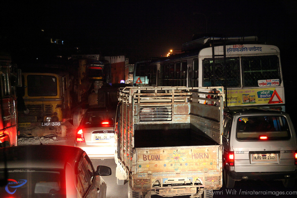 Asia, India, Jaipur. Traffic congestion at night in Jaipur.