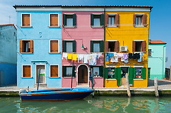 Colourful houses in Burano , Venice, Italy