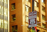 Image of Historic Route 66 sign in Chicago, Illinois, American Midwest