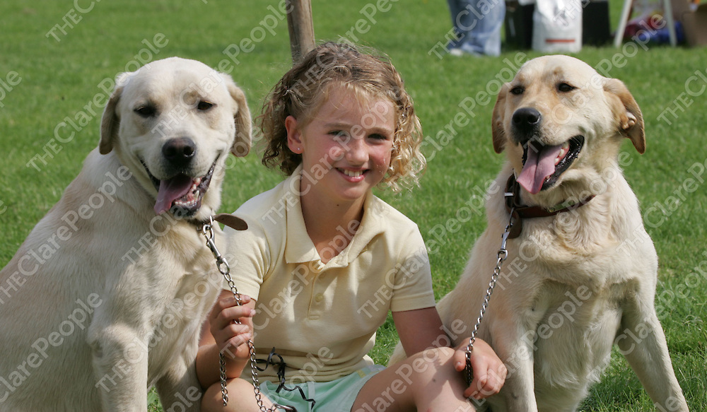 Alice Akers, from Bodyke Co.Clare pictured with her Dogs Tobie and Wabbles  at the Scarriff Agriculture Show in Scarriff Co. Clare.<br />