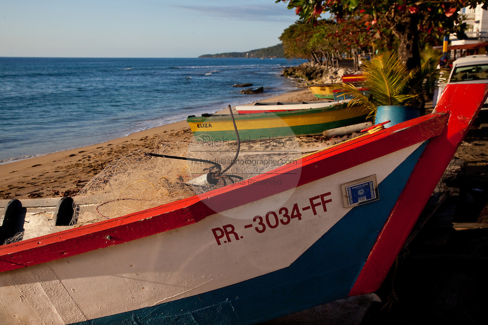 Colorful yolas on the beach at Aguadilla Puerto Rico