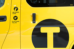Detail of new Nissan van in livery of New York City (NYC) Taxi at Paris Motor Show 2012