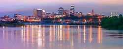 Panorama photo of downtown Kansas City, Missouri skyline, taken from Kaw Point Park in Kansas City, Kansas.