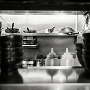 Sneaking a peek into the kitchen at Daikokuya ramen restaurant in Sawtelle Japatown, Los Angeles.