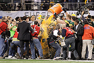 Green Bay Packers coach Mike McCarthy get hit with a full container of sport drink as the final seconds play out. .The Green Bay Packers played the Pittsburgh Steelers in Super Bowl XLV,  Sunday February 6, 2011 in Cowboys Stadium. Steve Apps-State Journal.