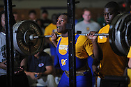Kevin Whitney squats 500 pounds during Class 5A Region weightlifting competition at Oxford High School in Oxford, Miss. on Saturday, February 9, 2013.